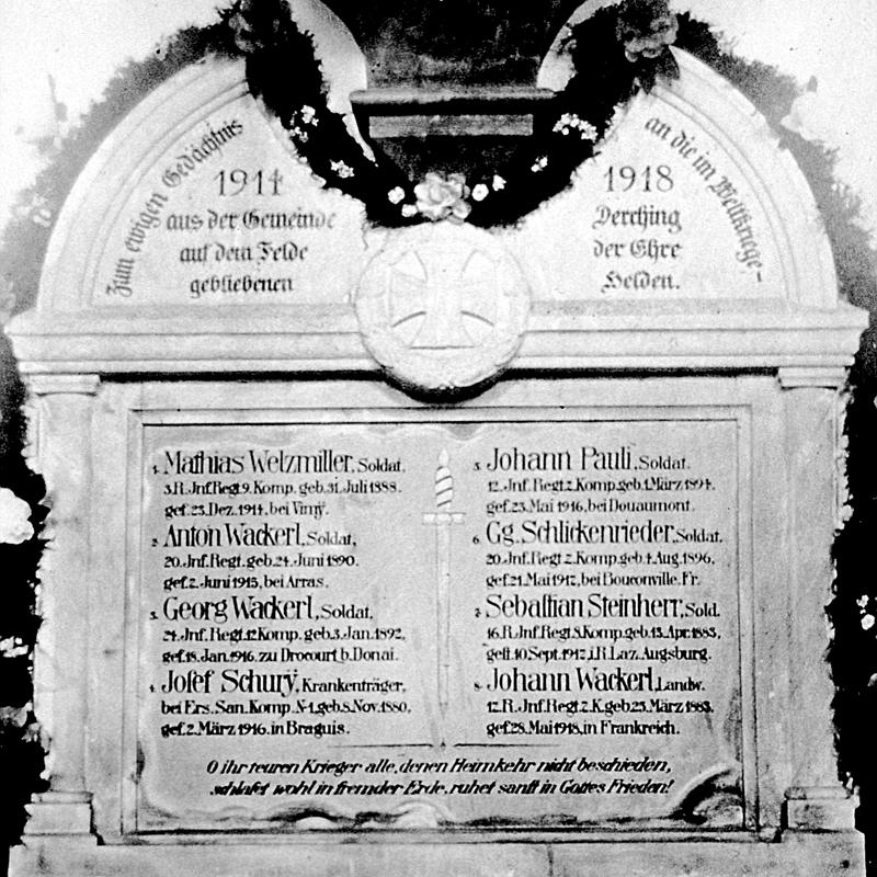 Krieger- und Soldatenverein Derching Gedenktafel 1921