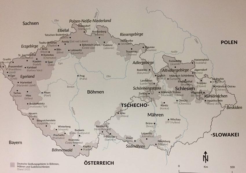 Karte Sudetendeutsche